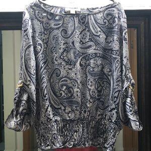 Michael Kors L top blouse navy & white flowy
